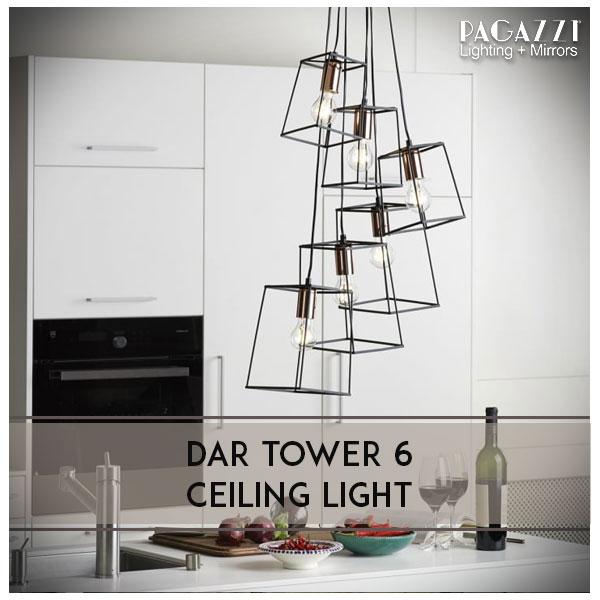 Dar Tower 6 Light Pendant
