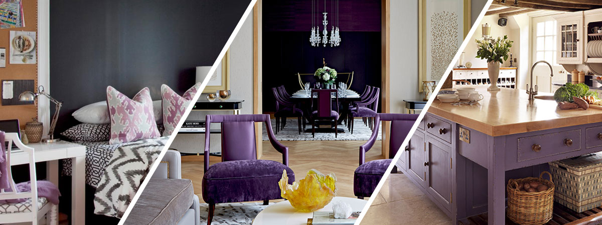 Interior Design using the Pantone Colour of the Year 2018 - Ultraviolet 18-3838 including a bedroom with ultraviolet cushions, a living room with ultraviolet chairs and painted walls and a kitchen with ultraviolet cabinets